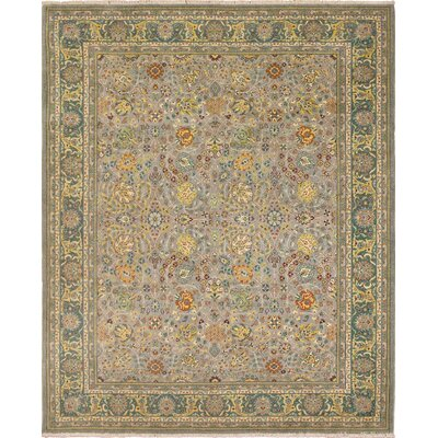 Clerkin Hand Knotted Wool Gray/Green Area Rug