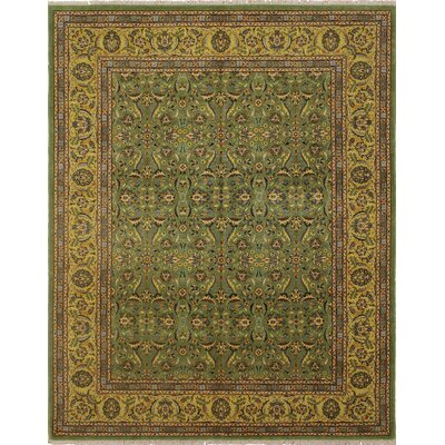 Monarch Hand Knotted Wool Green Area Rug size: 83 H x 102 W