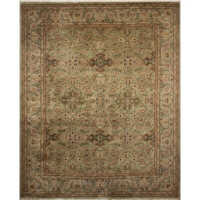 Clerkin Hand Knotted Wool Green Area Rug