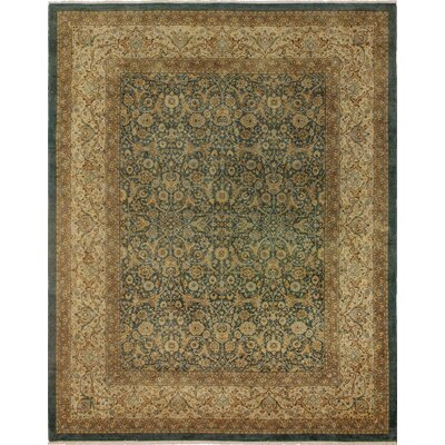 Clearman Knotted Wool Green/Brown Area Rug size: 85 H x 107 W