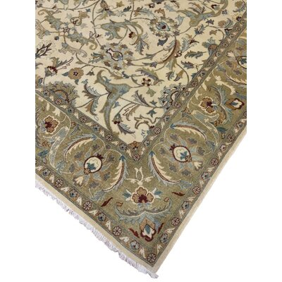 Clerkin Hand Knotted Wool Ivory/Green Area Rug