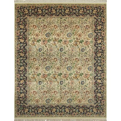 Cleasby Hand Knotted Rectangle Wool Ivory/Blue Area Rug