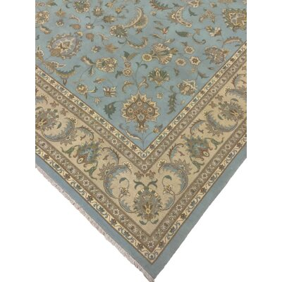 Clerkin Hand Knotted Wool Blue Area Rug