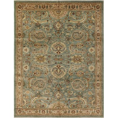 Clerkin Hand Knotted Rectangle Wool Green/Beige Area Rug