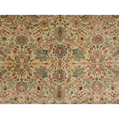 Clerkin Hand Knotted Red/Beige Area Rug