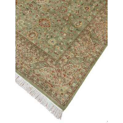 Cleasby Oriental Hand Knotted Wool Green Area Rug