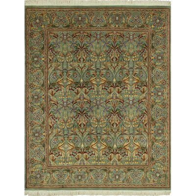 Cleasby Traditional Hand Knotted Wool Green Area Rug