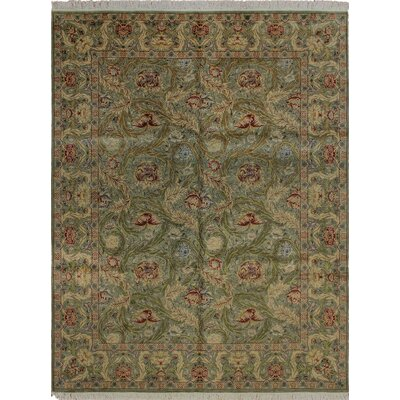 Cleasby Traditional Hand Knotted Rectangle Wool Green Area Rug