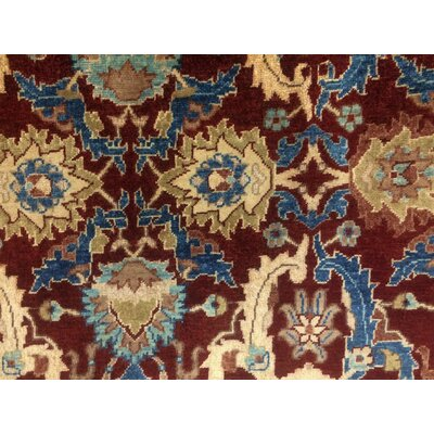 Clerkin Hand Knotted Rectangle Wool Red/Blue Area Rug