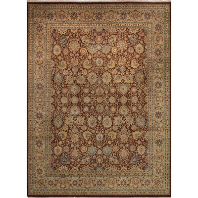 Cleasby Hand Knotted Rectangle Wool Burgundy Area Rug