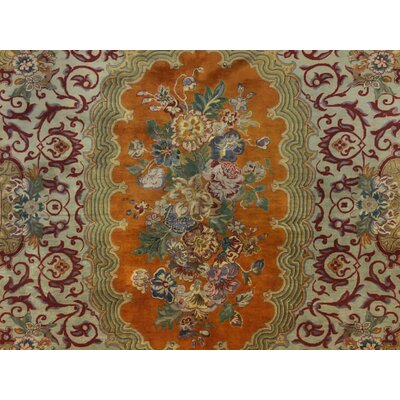 Hobel Hand Knotted Wool Orange/Green Area Rug