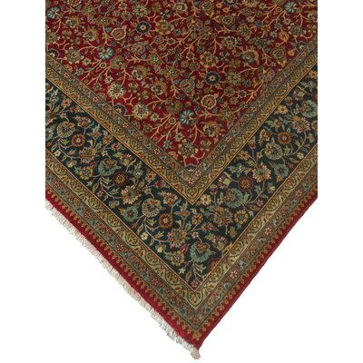 Clerkin Hand Knotted Wool Red/Blue Area Rug