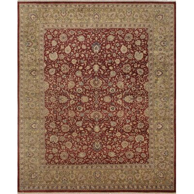 Clearman Hand Knotted Wool Red/Green Area Rug