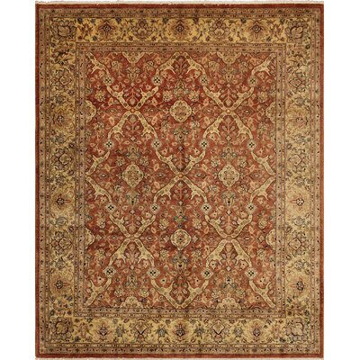 Clerkin Hand Knotted Rectangle Wool Rust Area Rug