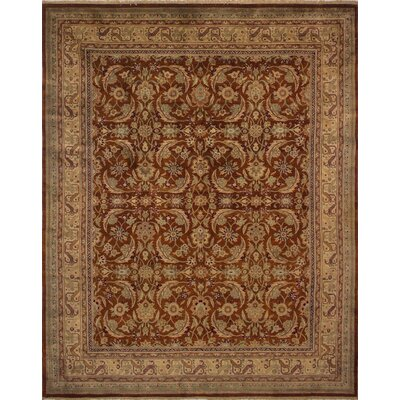 Clerkin Hand Knotted Wool Rust Area Rug