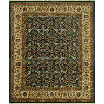 Clerkin Hand Knotted Wool Brown/Blue Area Rug
