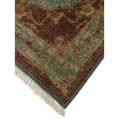Cleasby Hand Knotted Wool Green Area Rug