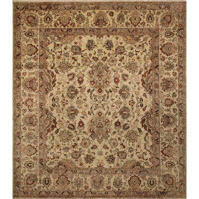 Clerkin Traditional Hand Knotted Wool Beige Area Rug size: 83 H x 94 W