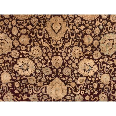 Cleasby Hand Knotted Wool Burgundy Area Rug