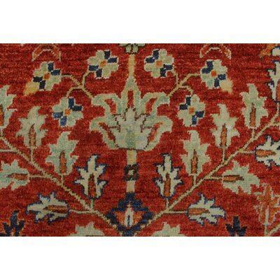 Woodmoor Chobi Hand Knotted Wool Rectangle Red Area Rug