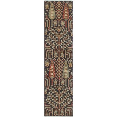 Woodmoor Chobi Hand Knotted Wool Rectangle Black Area Rug