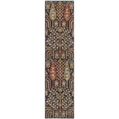 Woodmoor Chobi Hand Knotted Wool Rectangle Black Area Rug