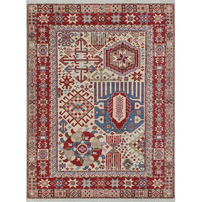 Woodmoor Chobi Hand Knotted Wool Rectangle Ivory Area Rug