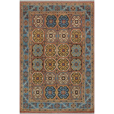 Woodmoor Chobi Hand Knotted Wool Rust Fringe Area Rug Rug Size: Rectangle 38 x 59