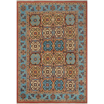 Woodmoor Chobi Hand Knotted Wool Rust Fringe Area Rug Rug Size: Rectangle 49 x 610