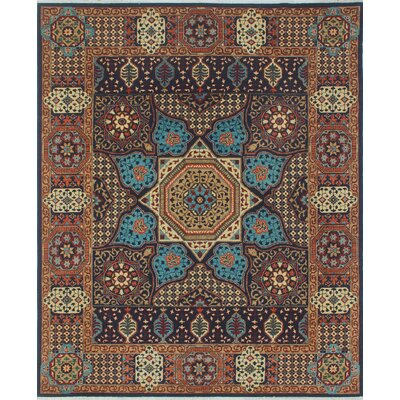 Woodmoor Chobi Hand Knotted Wool Rectangle Blue Fringe Area Rug