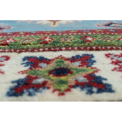 Saigo Hand Knotted Wool Rectangle Blue Area Rug