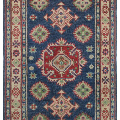 Saigo Traditional Hand Knotted Wool Rectangle Blue Area Rug