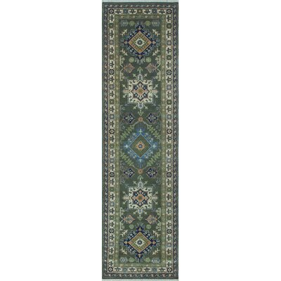 Saigo Hand Knotted Wool Green Area Rug