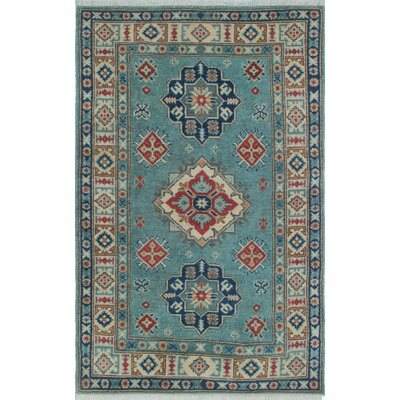 Saigo Hand Knotted Wool Blue/Gray Area Rug