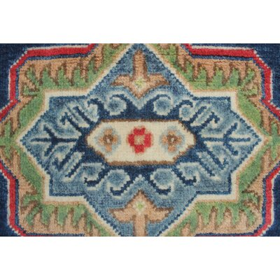 Saigo Hand Knotted Wool Blue Area Rug