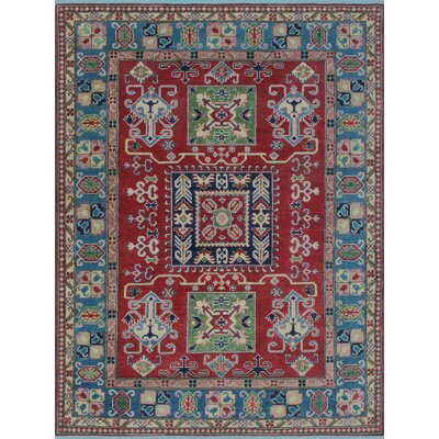 Saigo Hand Knotted Wool Red Area Rug