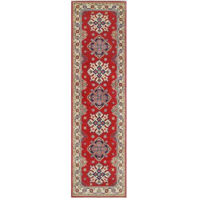 Crebilly Kazak Hand Knotted Wool Red Area Rug