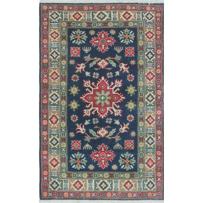 Brough Kazak Hand Knotted Wool Blue Area Rug