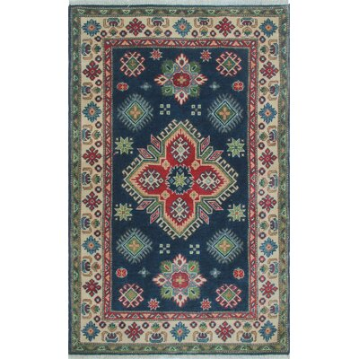 Medway Kazak Hand Knotted Wool Blue Area Rug