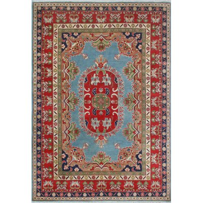 Brousseau Kazak Hand Knotted Wool Blue Area Rug