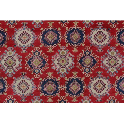Browder Kazak Hand Knotted Wool Red Area Rug