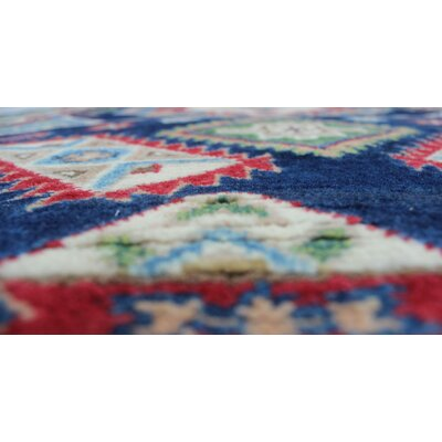 Brownridge Kazak Hand Knotted Wool Blue Area Rug