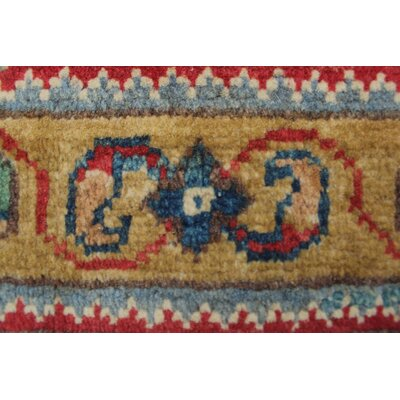 Brownsburg Kazak Hand Knotted Wool Blue Area Rug