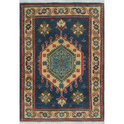 Broxton Kazak Hand Knotted Wool Blue Area Rug
