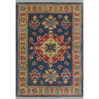 Melrose Kazak Hand Knotted Wool Blue Area Rug Rug Size: Rectangle 2'0