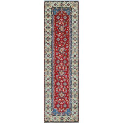 Creevery Kazak Hand Knotted Wool Red Area Rug