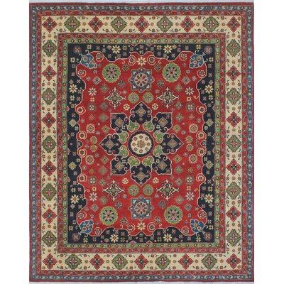 Brubaker Kazak Hand Knotted Wool Red Area Rug