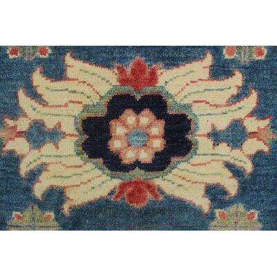 Cresta Kazak Hand Knotted Wool Blue Area Rug