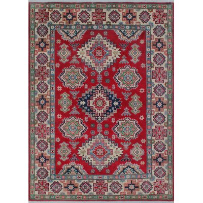 Mendon Kazak Hand Knotted Wool Red Area Rug