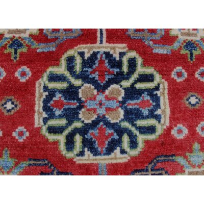 Leana Kazak Hand Knotted Wool Red Area Rug
